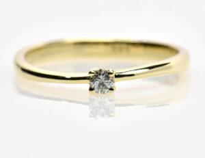 Solitär Diamantring 585/000 14 K Gelbgold Brillant 0,09 ct