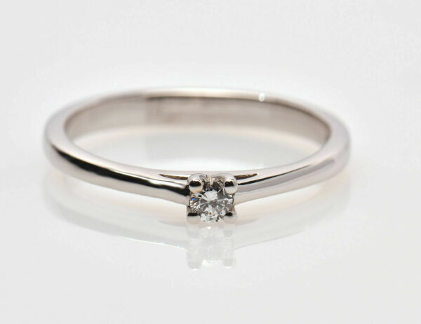 Solitär Diamantring 585/000 14 K Weißgold Brillant 0,08 ct