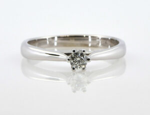 Solitär Diamantring 585/000 14 K Weißgold Brillant 0,16 ct