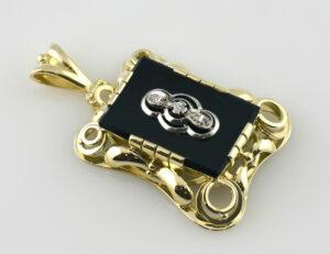 Anhänger 585/000 14 K Gelbgold, Onyx und 3 Diamanten zus. 0,06 ct
