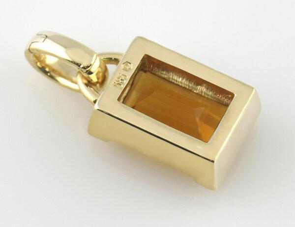 Anhänger Citrin 585/000 14 K Gelbgold, 18 Brillanten zus. 0,15 ct