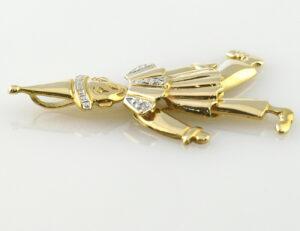 Anhänger Hampelmann Diamant 750/000 18 K Gelbgold 3 Diamanten zus. 0,01 ct