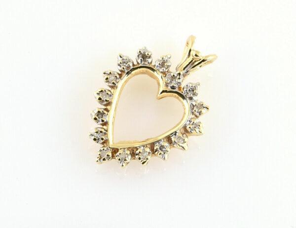 Anhänger Herz 585/000 14 K Gelbgold 16 Diamanten zus. 0,15 ct