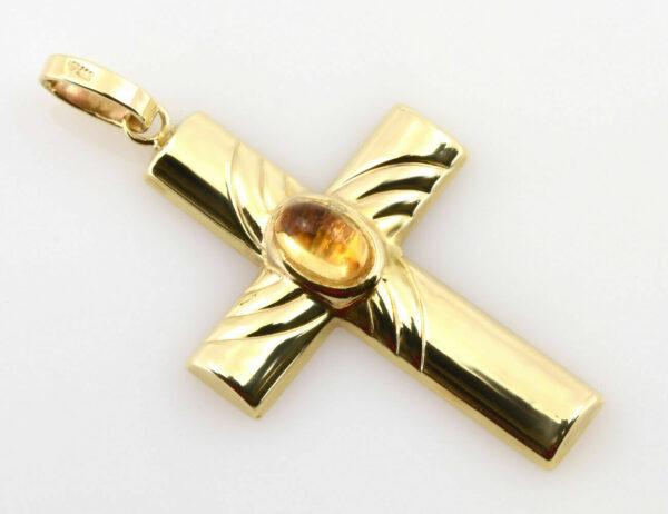 Anhänger Kreuz 333/000 8 K Gelbgold Zirkonia