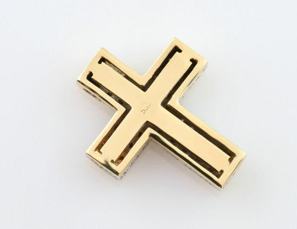 Anhänger Kreuz 585/000 14 K Gelbgold 47 Diamanten zus. 0,75 ct