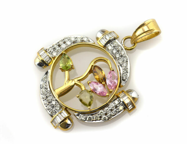Anhänger Peridot 750/000 18 K Gelbgold / 63 Diamanten zus. 0,75 ct