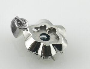 Anhänger Saphir 585 14 K Weißgold 6 Diamanten zus. 0,09 ct
