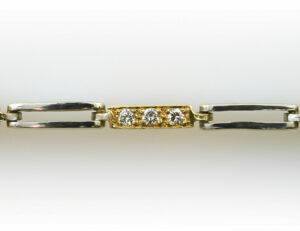 Armband 18 cm 750/000 18 K Weißgold/Gelbgold 30 Diamanten zus. 0,30 ct
