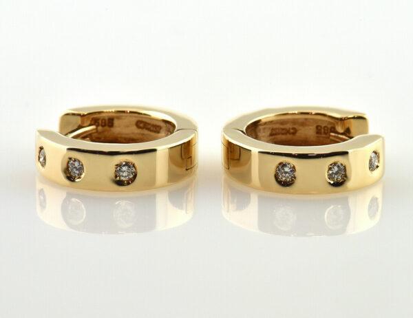 Creolen 585/000 14 K Gelbgold 6 Diamanten zus. 0,12 ct