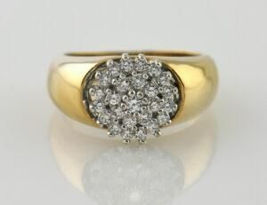 Diamant Ring 585 14 K Gelbgold 25 Brillanten zus. 0,40 ct