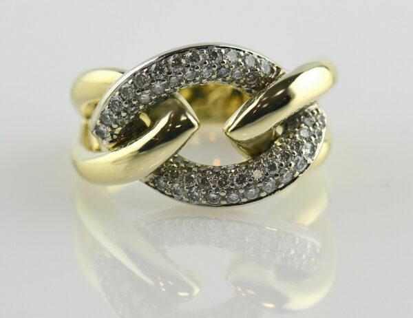 Diamant Ring 585/000 14 K Gelbgold 68 Brillanten zus. 0,69 ct