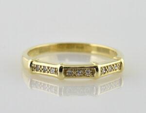 Diamant Ring 585/000 14 K Gelbgold 9 Diamanten zus. 0,09 ct