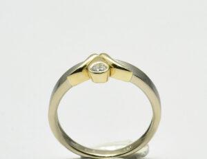 Diamant Solitär Ring 585 14 K Weiß-/Gelbgold Brillant 0,08 ct