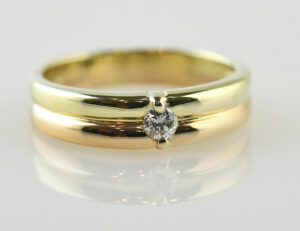 Diamant Solitär Ring 585/000 14 K Rot-/Gelbgold Brillant 0,07 ct
