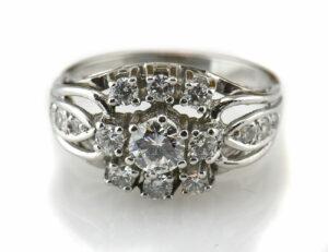 Diamantring 585/000 14 K Weißgold 15 Brillanten zus. 1,10 ct
