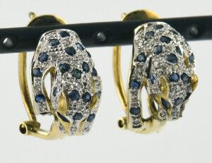 Ohrstecker 585 14 K Gelbgold, 36 Saphir / 54 Diamanten zus. 0,50 ct