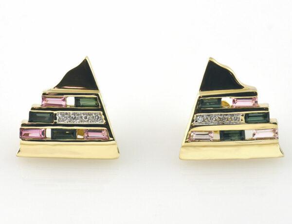 Ohrstecker Turmalin Morganit 585/000 14 K Gelbgold 8 Diamanten zus. 0,08 ct