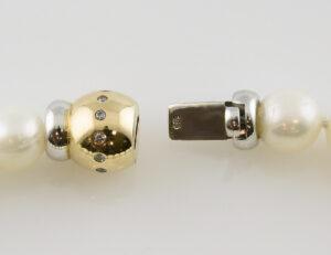 Perlen Armband 21,5 cm 585/000 14 K Gelbgold 12 Diamanten zus. 0,12 ct