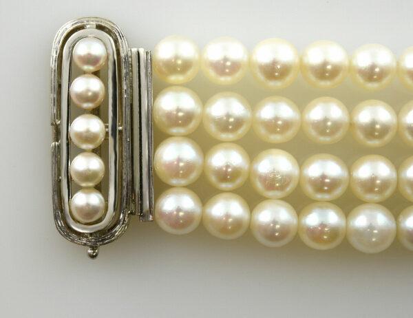 Perlen Armband 4-reihig 19 cm 585 14 K Weißgoldschloss