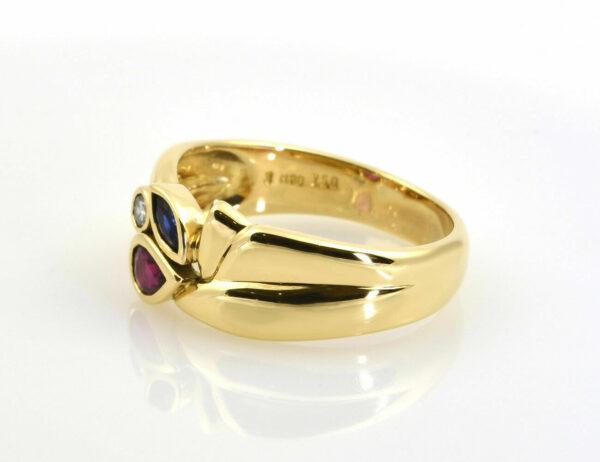 Ring Diamant Saphir Rubin 750/000 18 K Gelbgold 1 Brillant 0,055 ct