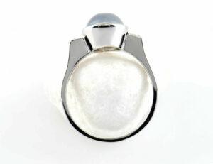 Ring Mondstein 585/000 14 K Weißgold 2 Diamanten zus. 0,04 ct