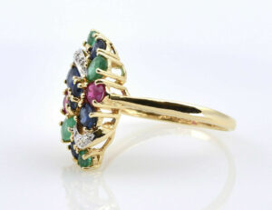 Ring, Saphir, Rubin, Smaragd 375/000 9 K Gelbgold 2 Diamanten zus. 0,01 ct