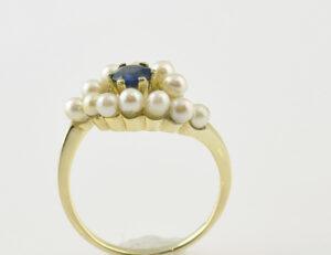 Ring Zuchtperlen Saphir 585 14 K Gelbgold