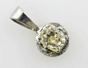 Solitär Anhänger Diamant 585/000 14 K Weißgold Diamant 0,65 ct