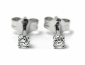 Solitär Brillant Ohrstecker Ohrringe 585 14 K Weißgold, 2 Diamanten zus. 0,20 ct
