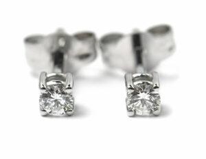Solitär Brillant Ohrstecker Ohrringe 585 14K Weißgold, 2 Diamanten zus. 0,175 ct