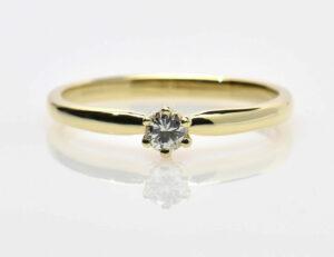 Solitär Diamantring 585/000 14 K Gelbgold Brillant 0,15 ct