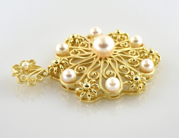 Anhänger 8 Perlen 585/000 14 K Gelbgold