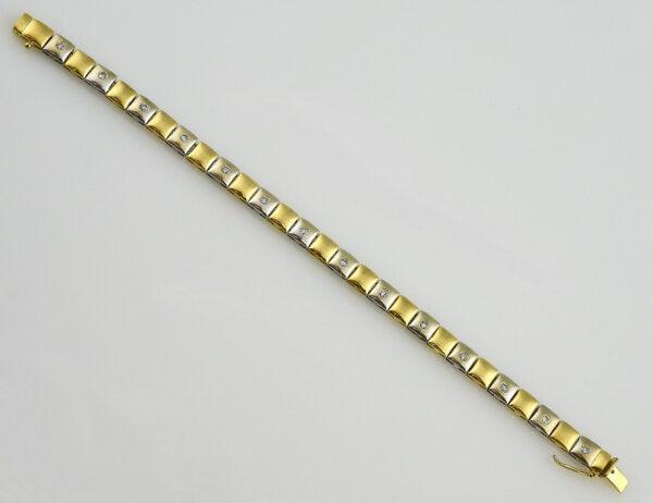 Armband 19 cm 750/000 18 K Weißgold/Gelbgold 14 Diamanten zus. 0,66 ct