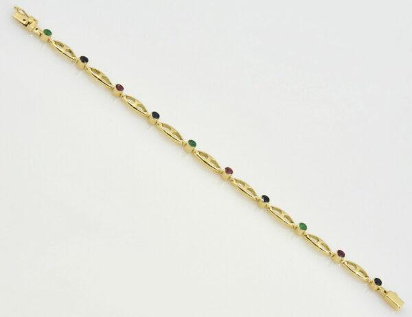 Armband 585/000 14 K Gelbgold Rubin, Saphir, Smaragd 18 cm