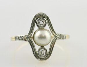 Art Deco Ring 585 14 K Gelbgold, Perle, 4 Diamant zus. 0,20 ct