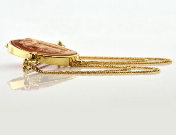 Brosche Muschelgemme 585/000 14 K Gelbgold