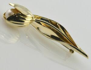 Brosche Perle 585/000 14 K Gelbgold