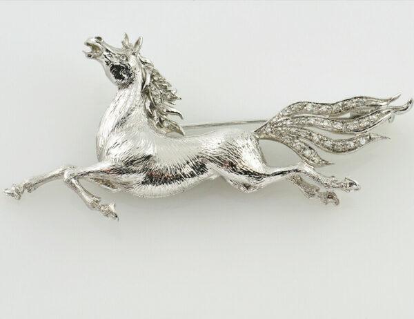 Brosche Pferd 750 18 K Weißgold mit 32 Diamanten zus. 0,32 ct