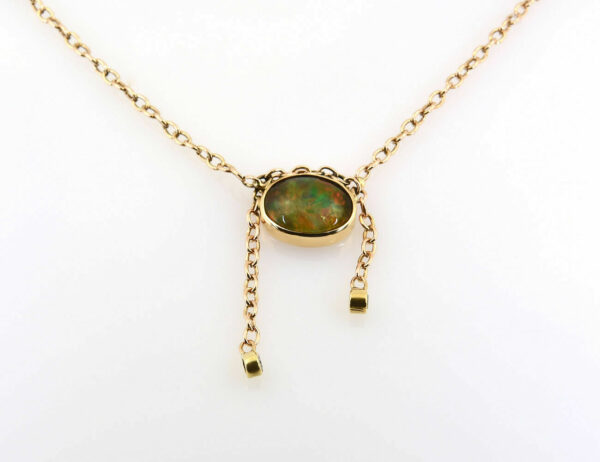 Collier Opal 585/000 14 K Gelbgold 2 Diamanten zus. 0,05 ct, 44 cm lang