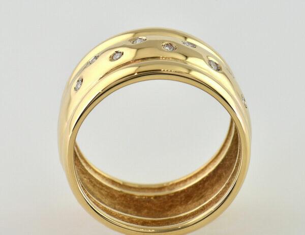 Diamant Ring 585/000 14 K Gelbgold 10 Brillanten zus. 0,10 ct