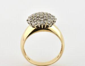 Diamant Ring 585/000 14 K Gelbgold 43 Brillanten zus. 0,89 ct