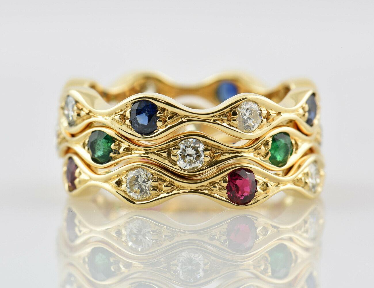 Diamant, Saphir, Smaragd, Rubin, Ring 750 18 K Gold 12 Brillanten zus. 0,80 ct