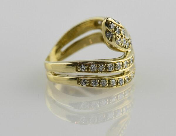 Diamant Schlangen Ring 750 18 K Gelbgold 40 Brillanten zus. 0,50ct