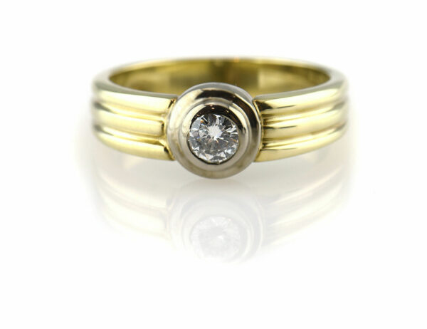 Diamant Solitär Ring 585 14 K Gelb/Weißgold Brillant 0,27ct