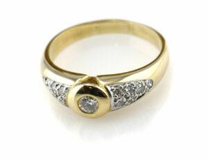 Diamantring 585/000 14 K Gelbgold 13 Brillanten zus. 0,40 ct