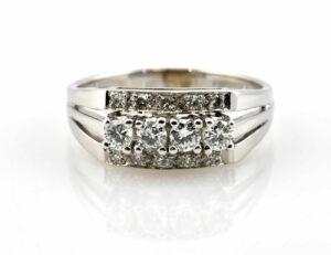 Diamantring 585/000 14 K Weißgold 14 Diamanten zus. 0,50 ct