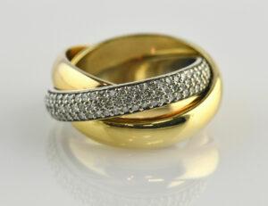 Diamantring 750 18 K Weißgold, Gelbgold, Rosegold 160 Brillanten zus. 1,00 ct