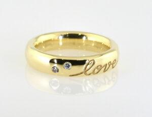 """Diamantring """"love"""" 585/000 14 K Gelbgold 4 Brillanten zus. 0,08 ct"""
