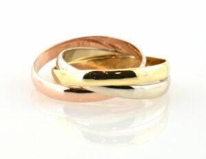 Dreier Ring 750/000 18 K Gold, Tricolor