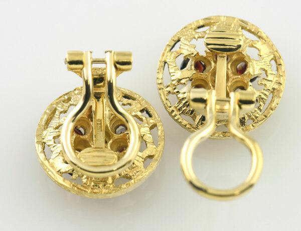 Ohrclip Granat 585/000 14 K Gelbgold